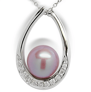 Pink Flame a Freshwater Pearl Pendant