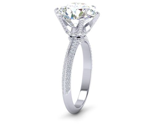 Platinum Knife Edge 6 Prong Pav� Diamond Engagement Ring