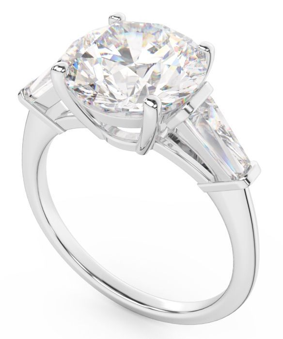 Diamond Engagement Ring   Round Brilliant Flanked by Two Tapered Baguettes