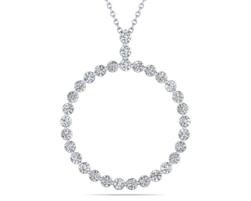 Single Prong Circle Diamond Pendant