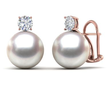 12mm South Sea Pearl & Diamond Earring .40 carats t.d.w.