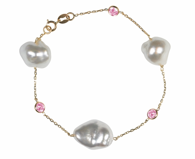 South Sea Keshi Pearl and Pink Sapphire Tin Cup Bracelet