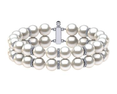 South Sea Pearl Double Strand Rondelle Bracelet
