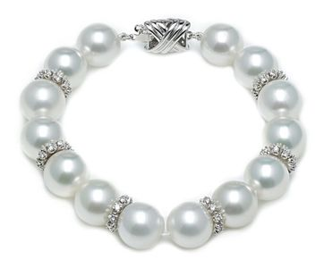 South Sea Pearl Bracelet with Diamond Rondells
