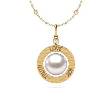 South Sea Pearl Classic Love Truth Joy Amulet Necklace