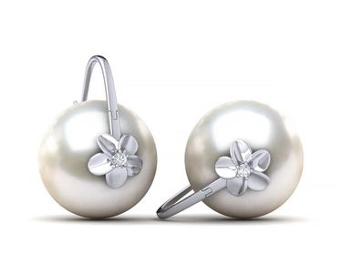 South Sea Pearl Double Hibiscus Earring White Gold