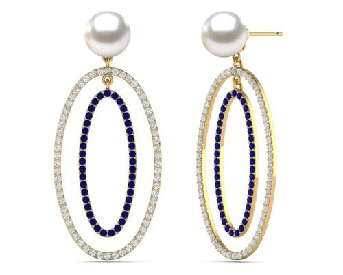 South Sea Pearl Double Oval Hoop Earring