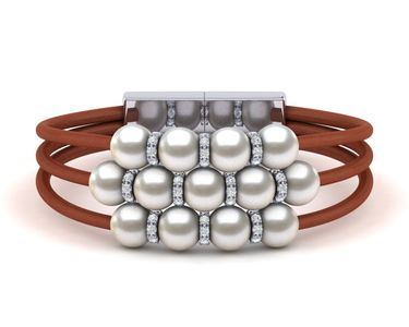 South Sea Pearl Rondell Leather Bracelet