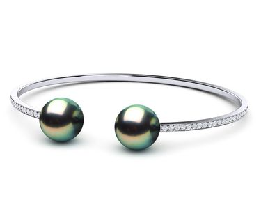 Tahitian Pearl Diamond Bangle Bracelet