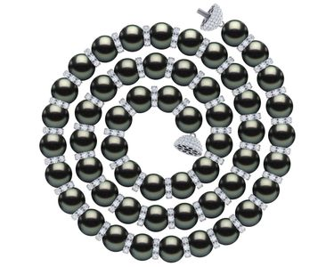 Tahitian Pearl Diamond Rondell Necklace | Every Other Pearl