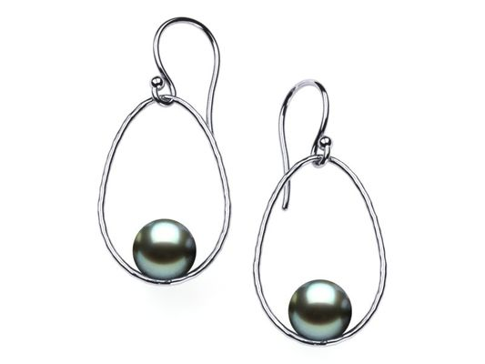 Tahitian Pearl Earring Drop Hoop Hammered