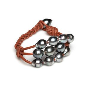 Tahitian Pearl Grey Baroque 3 Row Waterfall Bracelet