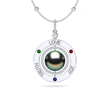 Tahitian Pearl Love Truth Joy Amulet Necklace