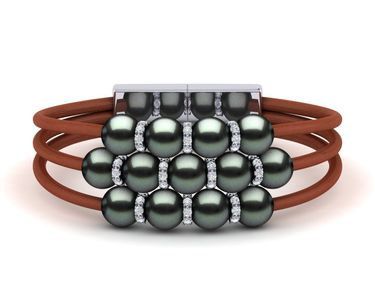 Tahitian Pearl Rondell Leather Bracelet
