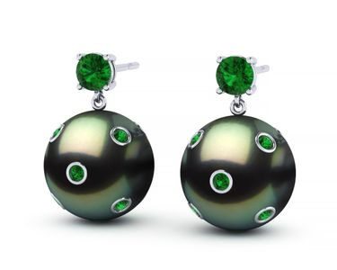 Tahitian Pearl Starry Night Dangle Earring