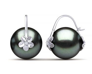 Tahitian South Sea Pearl Double Hibiscus Earring