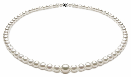 TRUE AAA Quality 3.5 x 7.5mm White Akoya Cultured Pearl Necklace