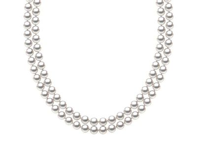 TRUE AAA Quality 6.5 x7mm White Akoya Cultured Pearl Double Strand Necklace