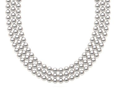 TRUE AAA Quality 6.5 x7mm White Akoya Cultured Pearl Triple Strand Necklace