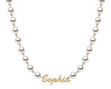 TRUE AAA QUALITY Akoya Cultured Pearl Name Tag Necklace