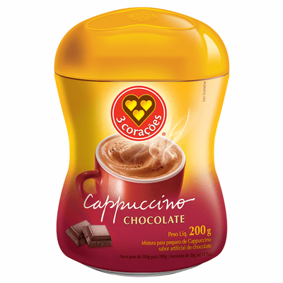 3 Coracoes Cappuccino Chocolate Net.Wt 200 gr