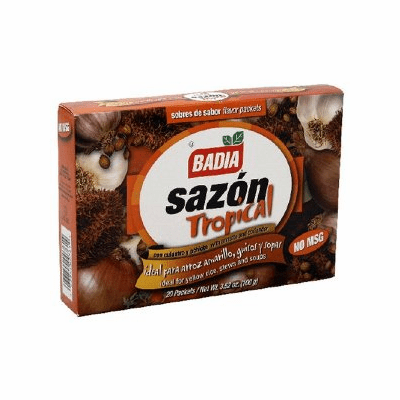 Badia Sazon Tropical con Culantro y Achiote (Sazon Spanish Flavoring Powder with Annato and Coriander) Package Weighing 3.52oz Containing 20 packets
