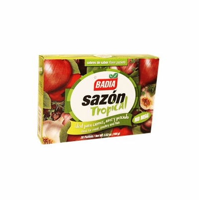 Badia Sazon Tropical (Spanish Seasoning Powder without MSG) Ideal For Meat, Poultry and Fish- Package Weighing 3.52oz Containing 20 packets