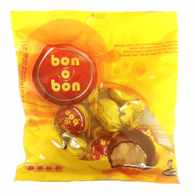 Bon o Bon Chocolate covered bonbons with Peanut Cream Filling and Wafers Re-Bag of 90g Containing Approx. 6 pieces - Argentina