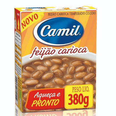 Camil Feijao Pronto Carioca Temperado Cozido Com Tempero (Brown Beans With Seasoning) Net.Wt 380g