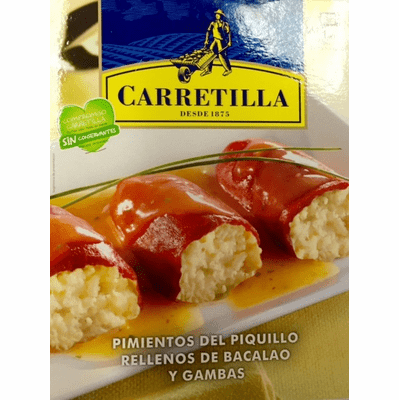 Carretilla Pimientos Piquillo Rellenos de Bacalao y Gambas (Piquillo Peppers Stuffed with Shrimp and Codfish) Microwaveable Tray - Does Not Require Refrigeration 9.88oz (280g)