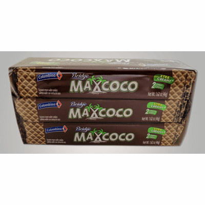 Colombina Max Coco Bridge ( Sugar Wafer Filled With Coconut Cream ) Net.Wt 276 Gr 6 Units