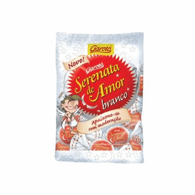 Garoto Serenata de Amor Branco - BomBom Branco Recheado com Creme de Castanha de Caju (White Chocolate Bonbon with Cashew Nut Cream) Bag 500g. Containing Approximately 25 pieces.