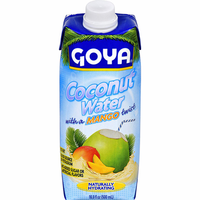 Goya Agua de Coco Sabor Mango (Mango Flavored Coconut Water) net weight 16.9oz, easy open pack