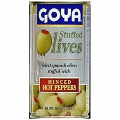 Goya Olives Stuffed with Minced Hot Peppers (Aceitunas Rellenas con Pimiento Picante Picado) 148.8g