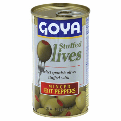 Goya Olives Stuffed with Minces Hot Peppers (Aceitunas Rellenas con Pimiento Picante Picado) 148.8g