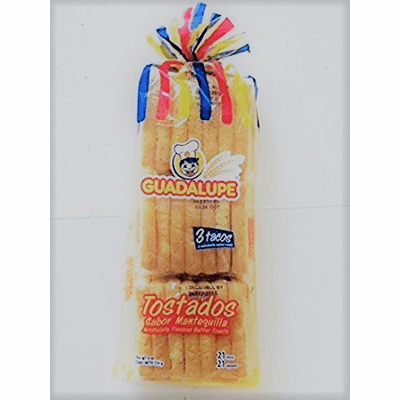 Guadalupe Tostados sabor mantequilla 21 unidades (Artificially Flavored Butter Toasts 21 pieces) NET WT. 9oz