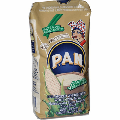 Harina P.A.N De Maiz Blanco Precocida Grano Entero ( Pre-Cooked Whole Grain White Corn Meal ) Net.Wt 1 kg