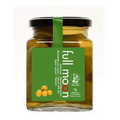 Hoji Blanca Aceitunas sin Hueso con Limon al Vinagre Balsamico (Pitted Olives with Lemon and a Touch of Balsamic Transparent Vinegar) Glass Jar 300g