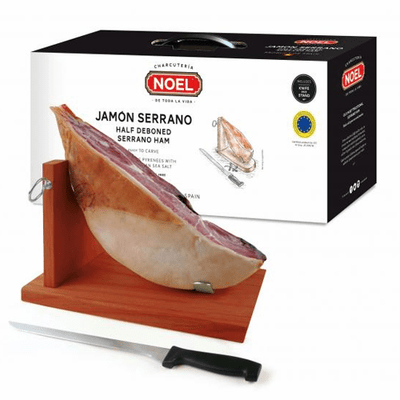 Jamon Serrano Noel Gift Set ( Includes Half  Serrano Ham, Jamonera & Traditional Jamon Knife )