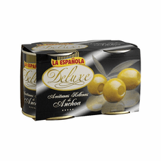 La Española Duo Aceitunas Rellenas Anchoas (Twin Pack Olives Stuffed with Anchioves) Two Easy Open Cans of 200g Each
