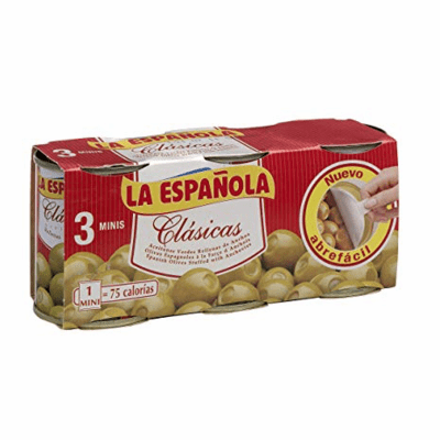 La Española Tripack Aceitunas Rellenas con Anchoa (Three Pack Olives Stuffed with Anchovies) Three Easy Open Cans of 120g each