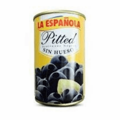 La Espanola Pitted Olives (Aceitunas Negras Sin Hueso) Net.Wt 300g