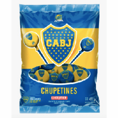 Lheritier Bola Boca Futbol Hard Candy Lollipops Cherry Flavored ( 24 units ) Net.Wt 432g