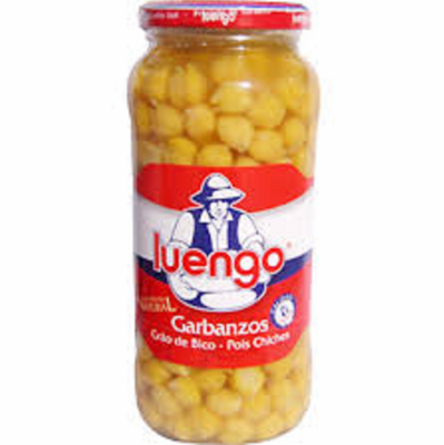 Luengo Garbanzos Finos Cocidos (Cooked Chickpeas) Glass Jar 570g Spain
