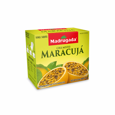 Madrugada Cha Misto Maracuja (Passion Fruit Tea) package weighing 15g containing 10 bags - Brazil
