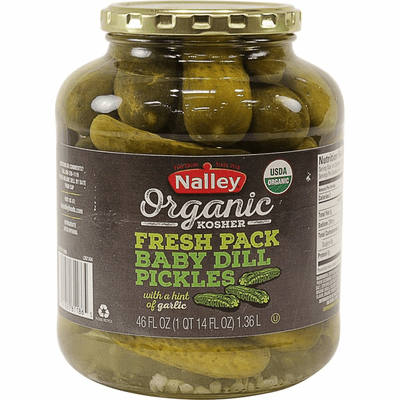 Nalley Organic Kosher Fresh Pack Baby Dill Pickles With A Hit Of Garlic Net.Wt 46 oz