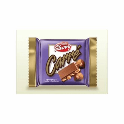 Nestle Savoy Carre Chocolate con Leche y Avellanas (Milk Chocolate with Hazelnuts) Net Wt 3.53oz (100g)