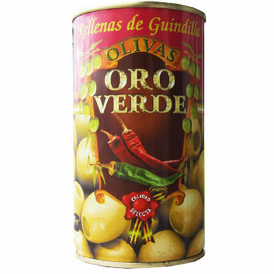 Oro Verde Aceitunas Rellenas de Guindilla (Olives Stuffed with Red Hot Pepper Paste) Net Wt 350g
