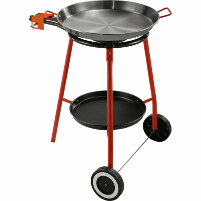 Outdoor Paella Set  - Approximately 10 Serving (includes Standard Gas Burner, Polished Paella Pan and a wheeled stand with tray)