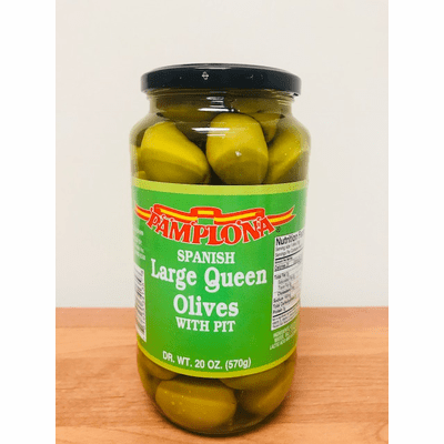 Pamplona Large Queen Olives With Pit ( Gordales Grandes Con Hueso) Net Wt. 20 oz (App 57 units)